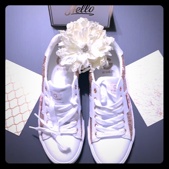 White w Rose Gold Glitter G by Guess Tennis -SH-15